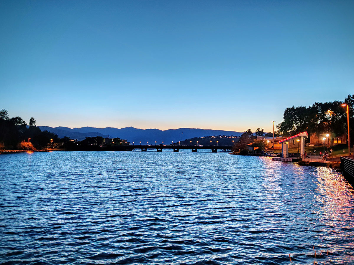 The view up the river to the lake at dusk