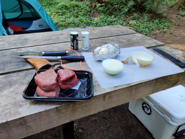 Dinner: Fillet, grilled onion and campfire-baked potato