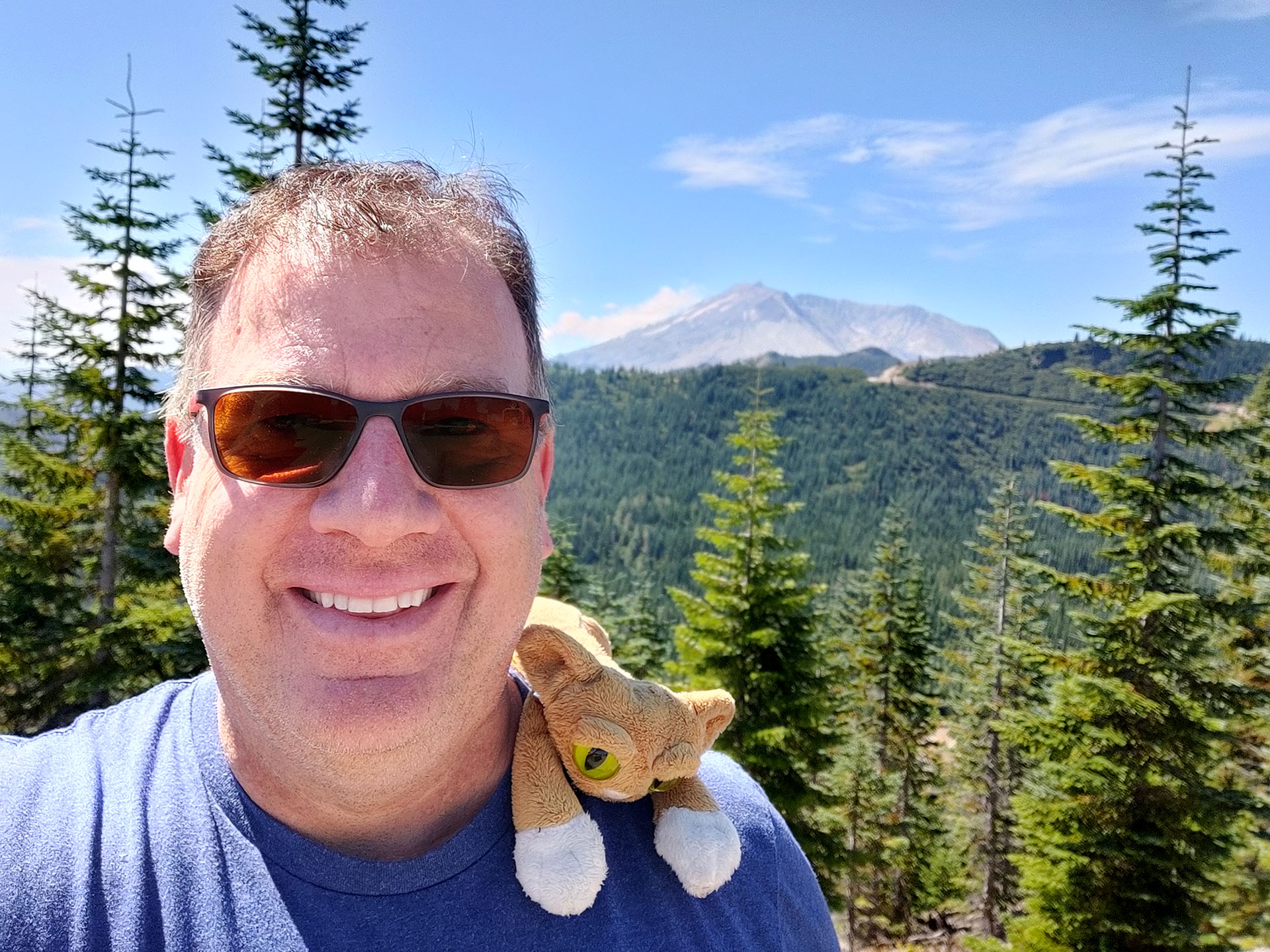 Me and Griffith the Traveling Mountain Lion with Mt. St. Helens