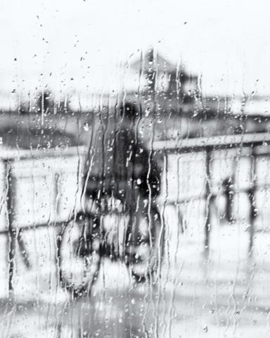 Cyclist in rain. Port of Tel-Aviv.