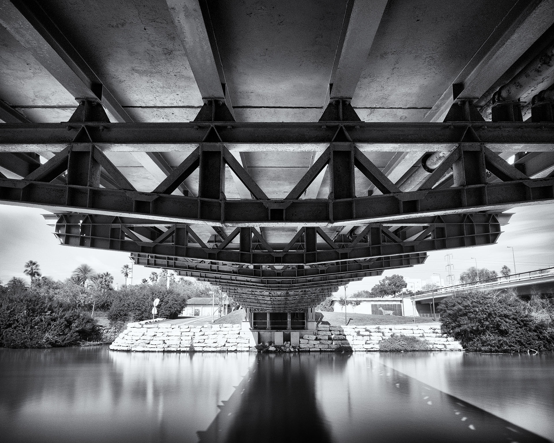 Yarkon River Bridge. Long Exposure.